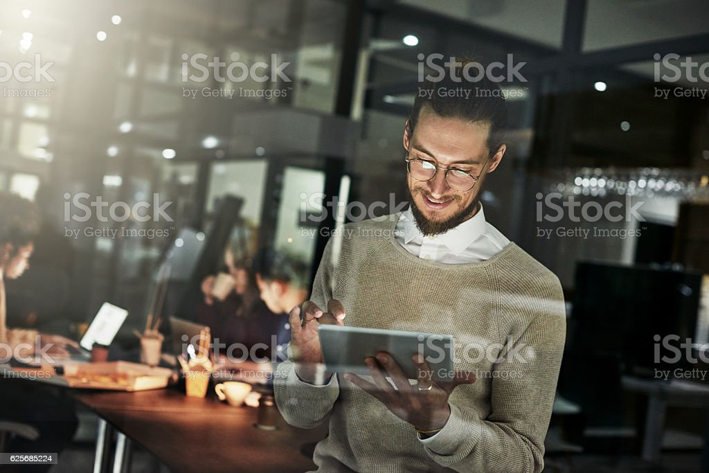 He's got a mind for design stock photo