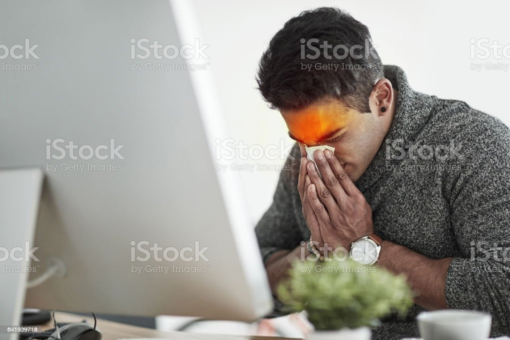 He's got all the symptoms of flu stock photo