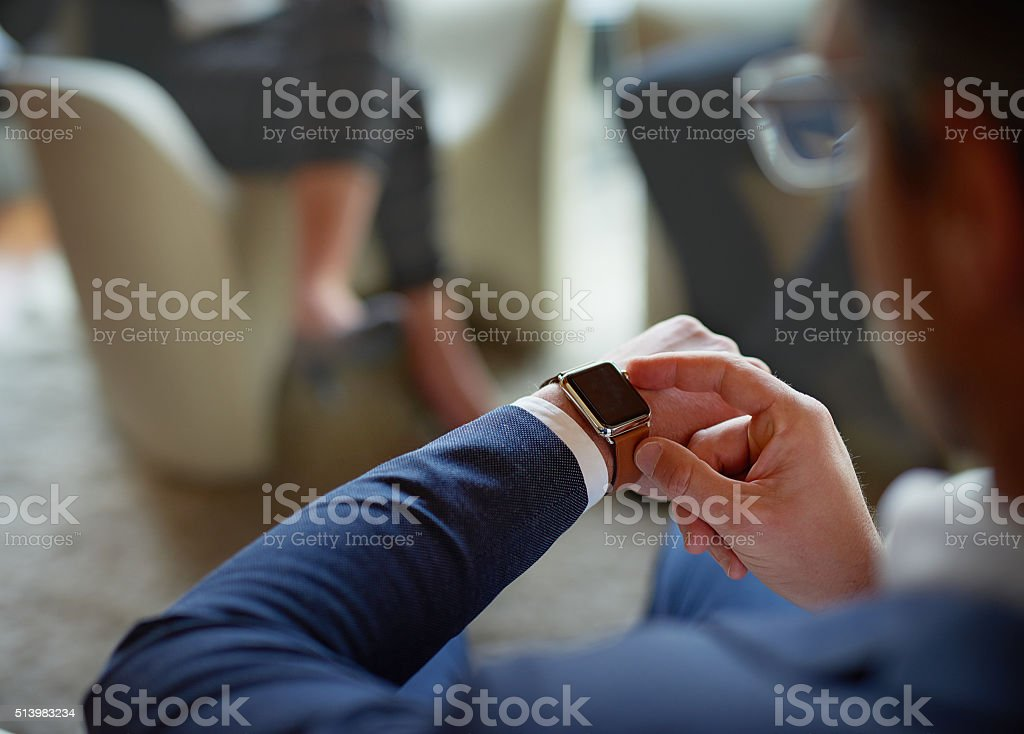 He's got another meeting after this one stock photo