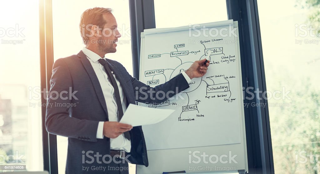 He's got his business goals all mapped out stock photo