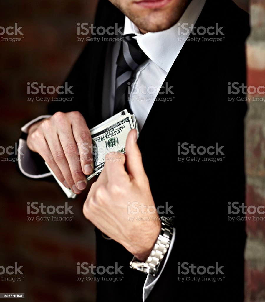 He's got his payoff stock photo