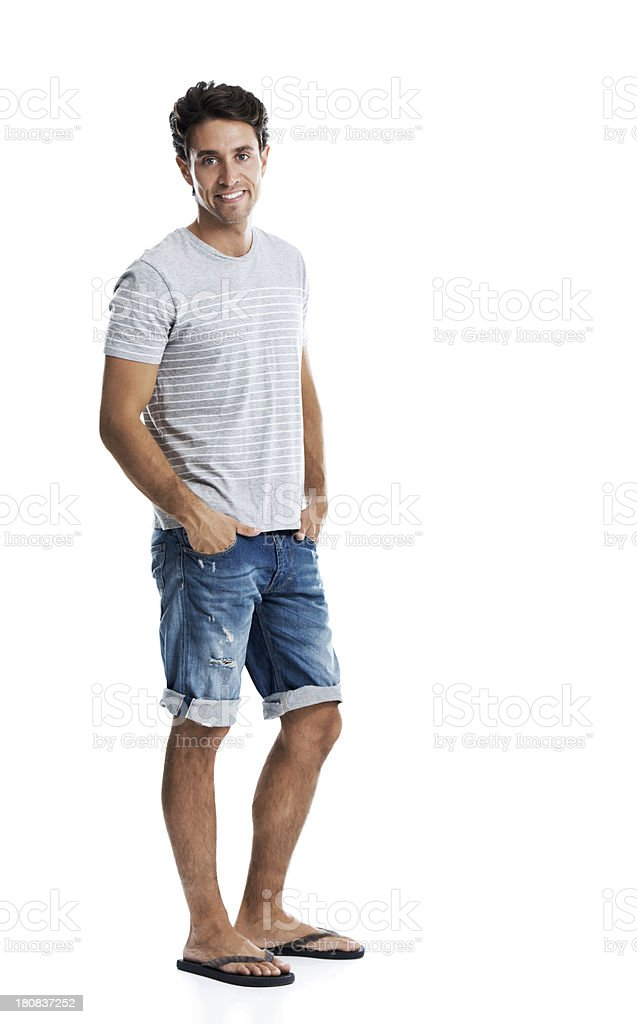 He's got his summer style down! stock photo
