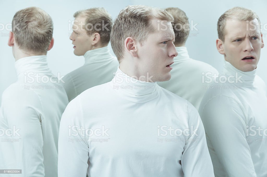 He's got problem with identity stock photo