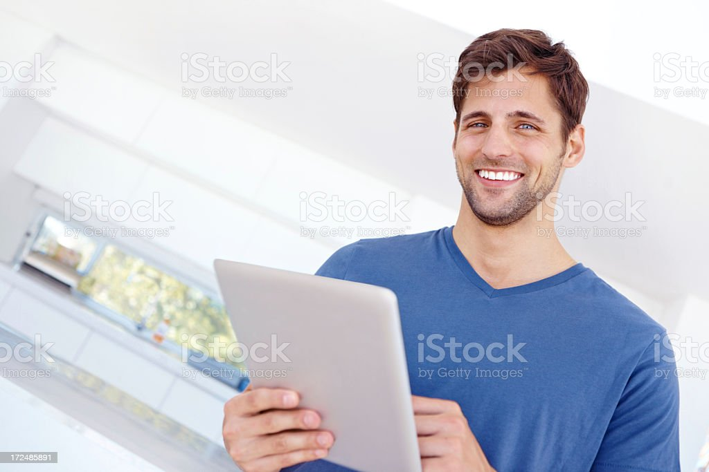 He's got the internet in his hands royalty-free stock photo