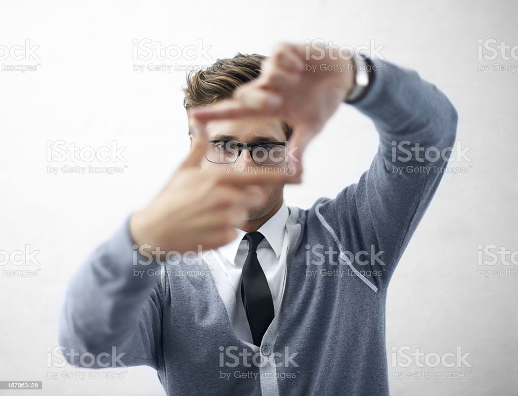 He's got the vision to create something awesome! stock photo