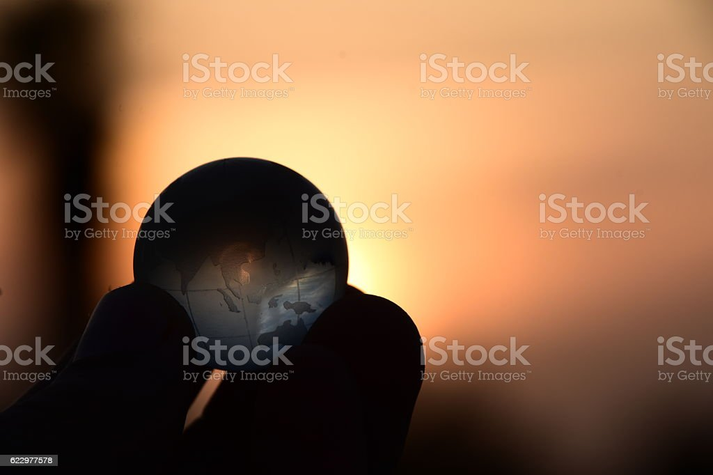 He's got the whole world in his hands stock photo