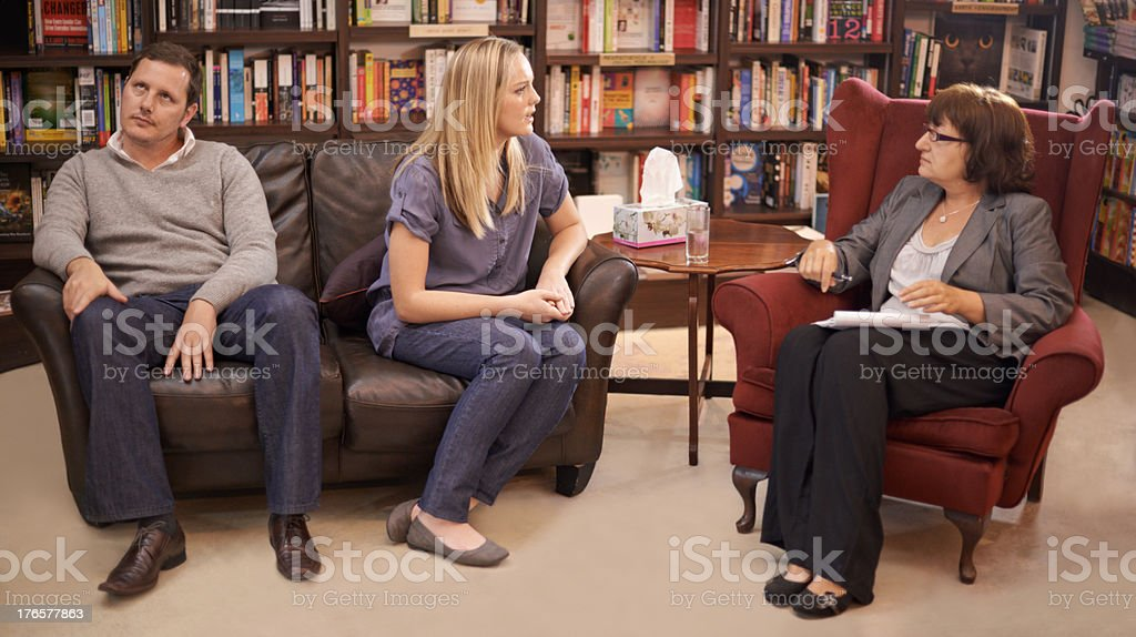 He's had enough of this discussion stock photo