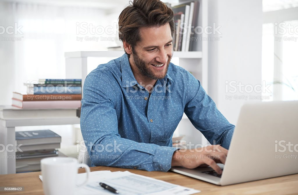 He's happy to put the work in stock photo