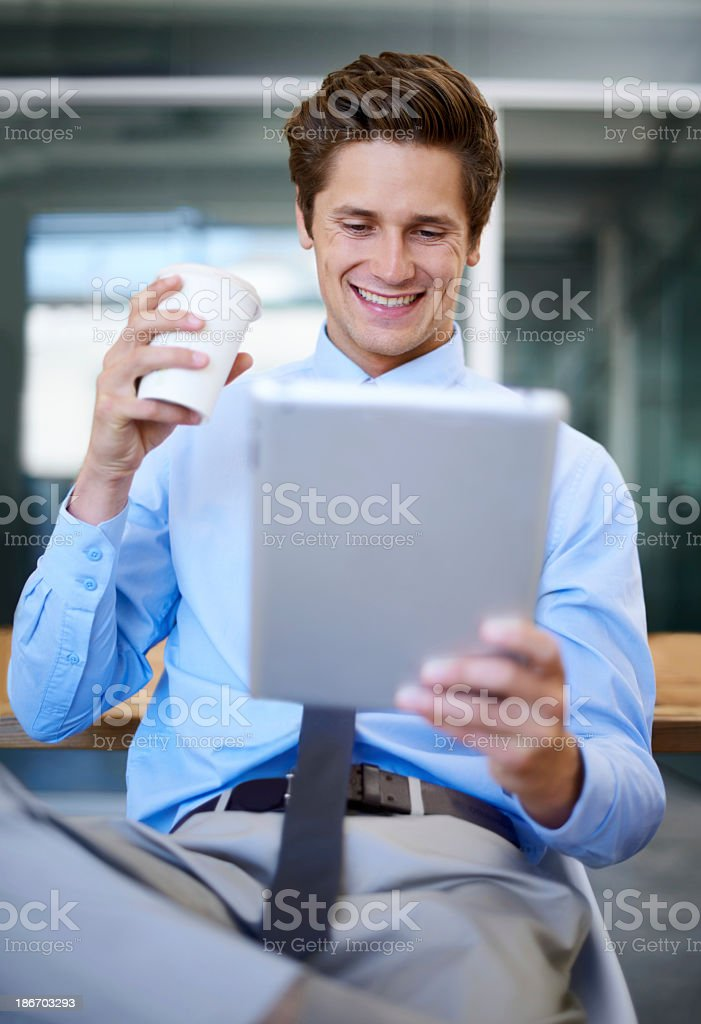 He's having a well-deserved coffee break royalty-free stock photo
