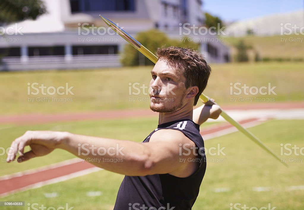 He's in great throwing form stock photo