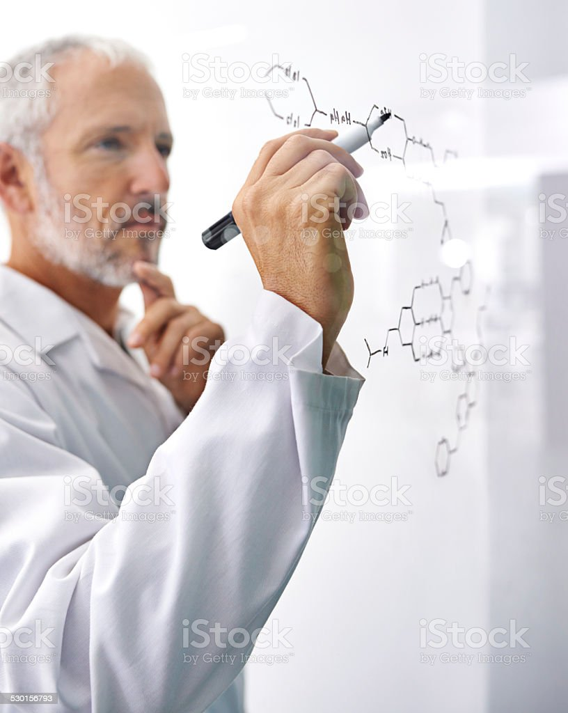 He's involved in cutting edge research stock photo