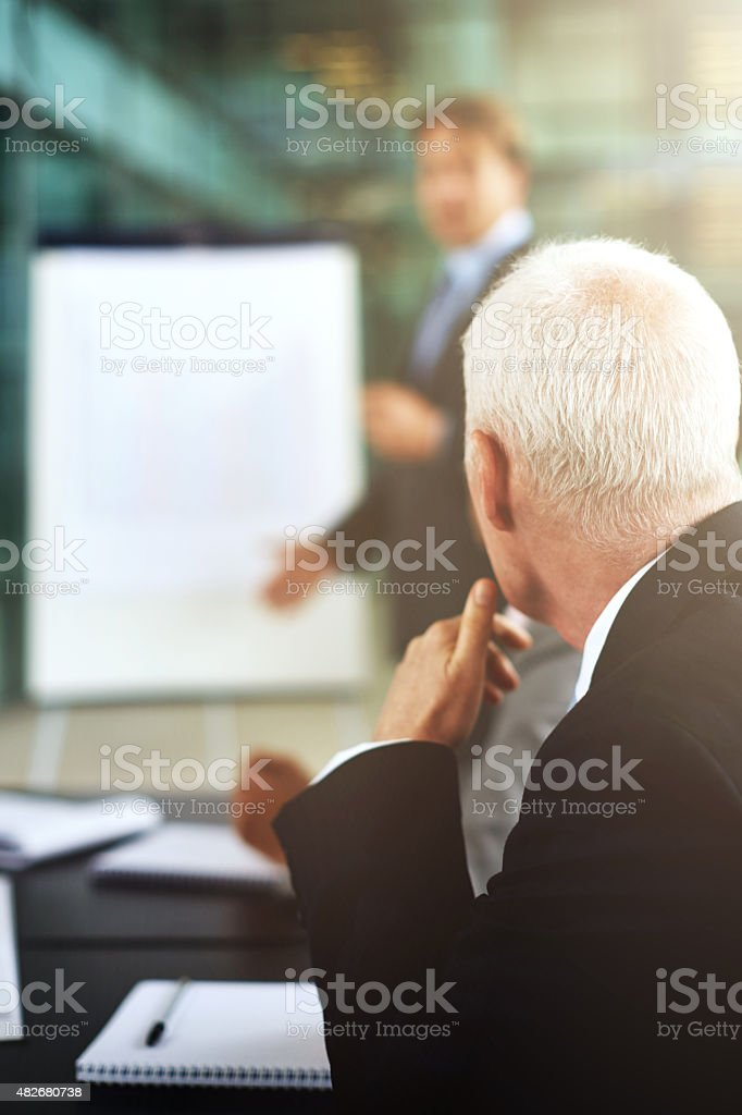He's listening intently stock photo