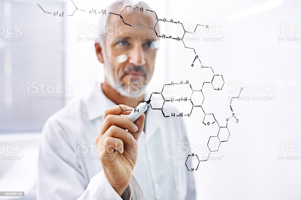 He's mad about formulas stock photo