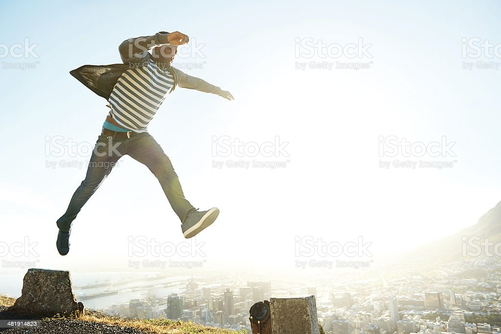He's not afraid to live on the edge stock photo