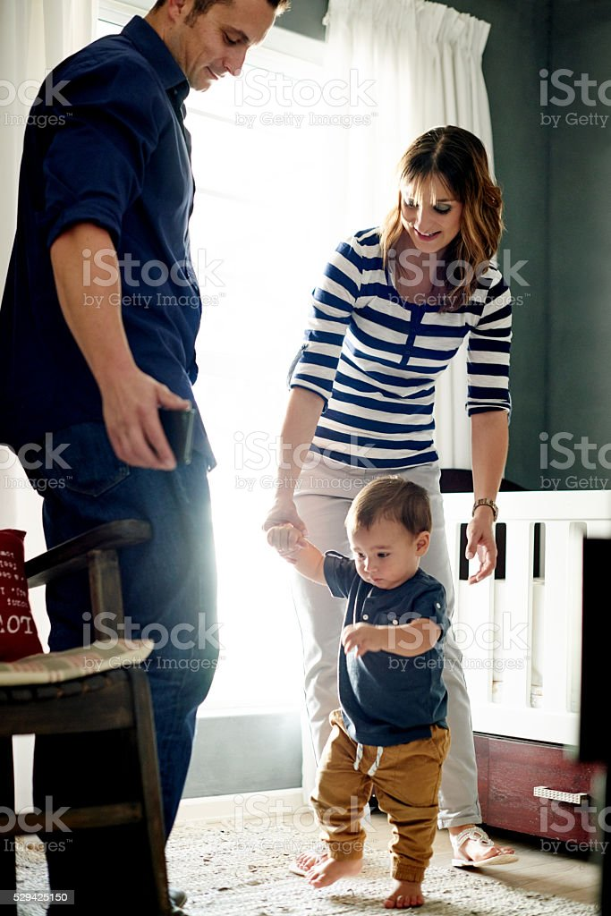 He's officially a toddler now stock photo
