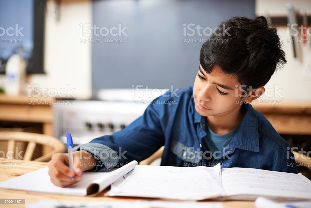 He's one diligent student! stock photo