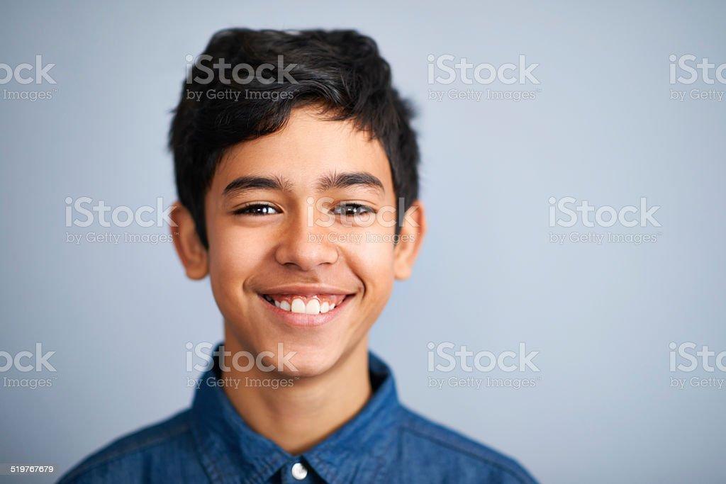 He's one super confident kid stock photo