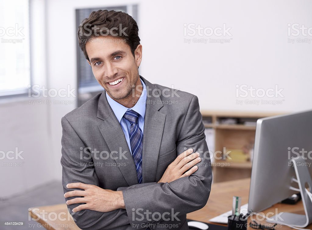 He's proud of his successes stock photo