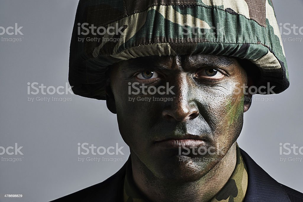 He's ready for war stock photo
