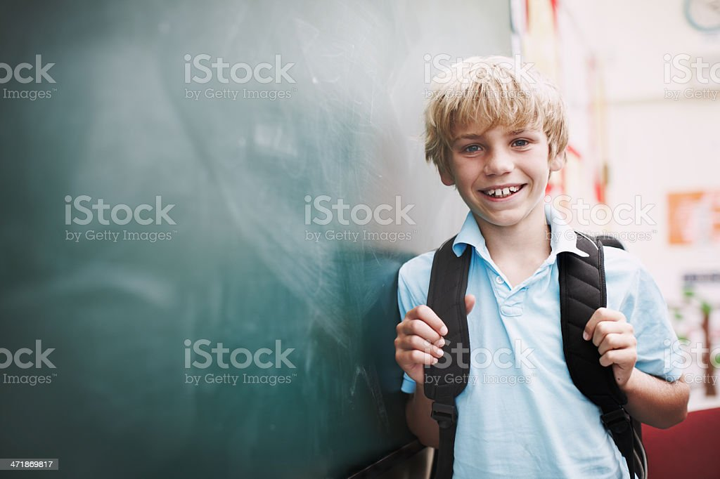 He's ready to learn! stock photo