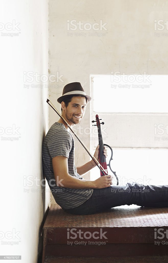 He's ready to play anywhere, anytime royalty-free stock photo