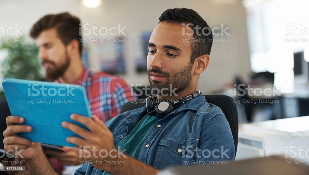 He's reviewing his work royalty-free stock photo