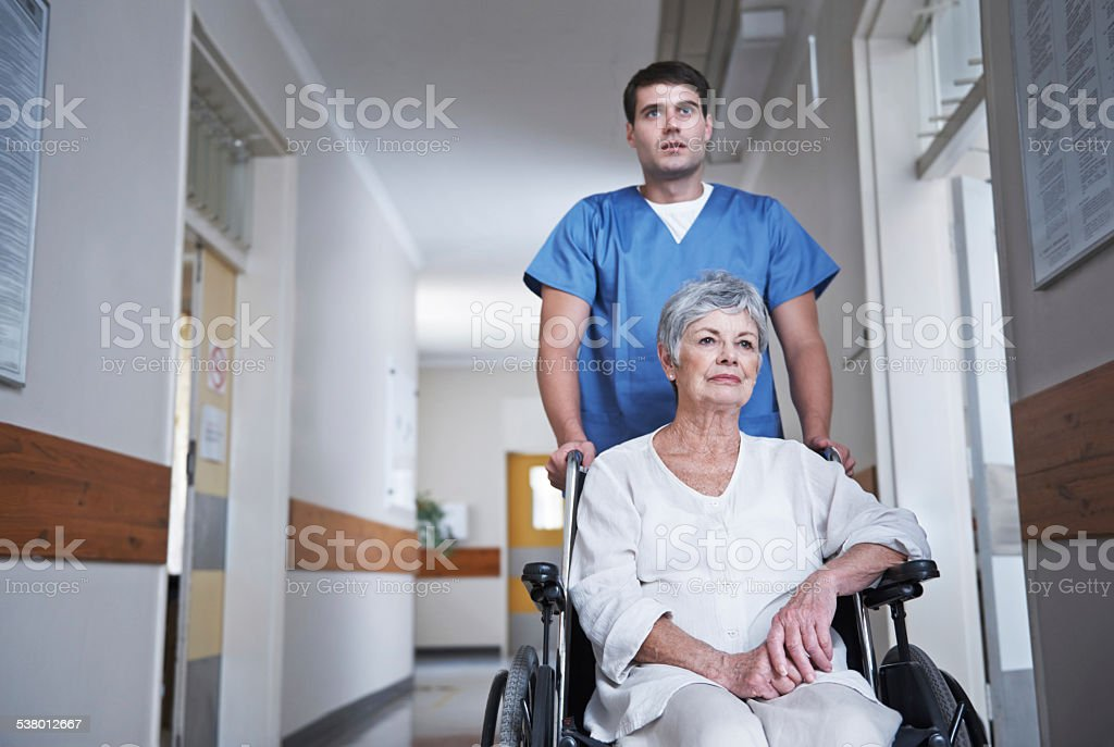 He's serious about the care of his patients stock photo