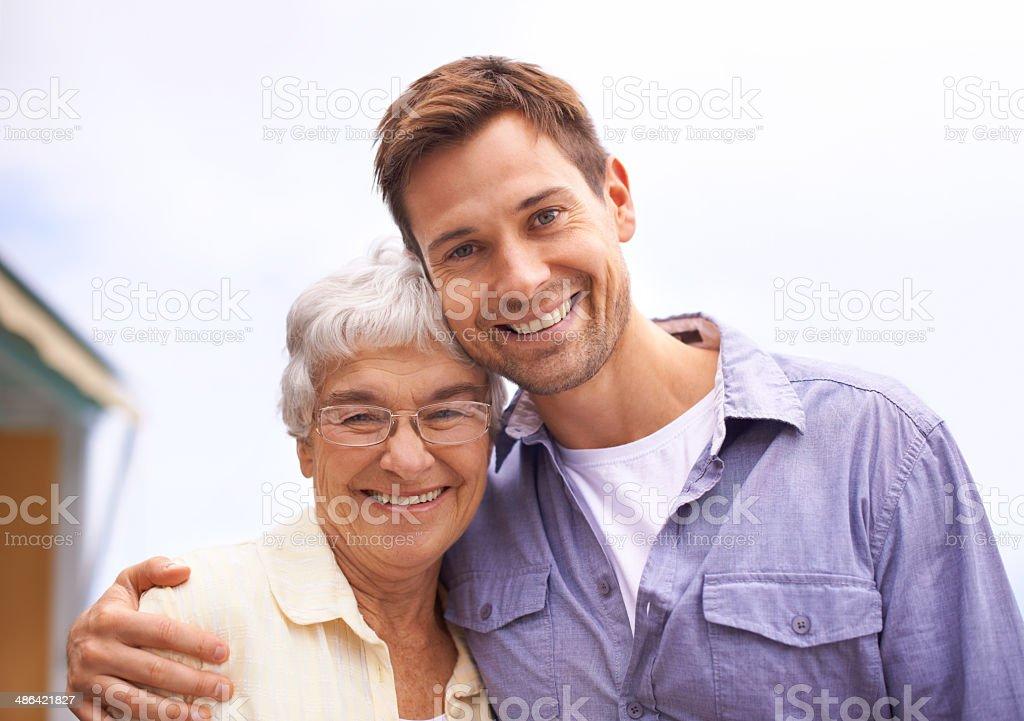 He's still her little boy stock photo