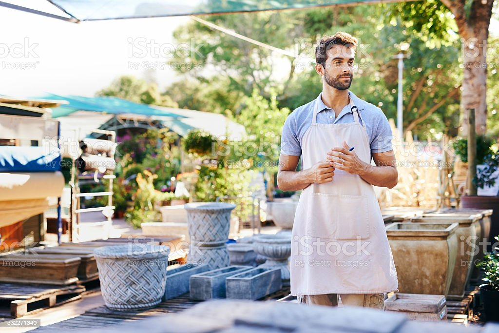 He's the go to guy for all your gardening needs stock photo