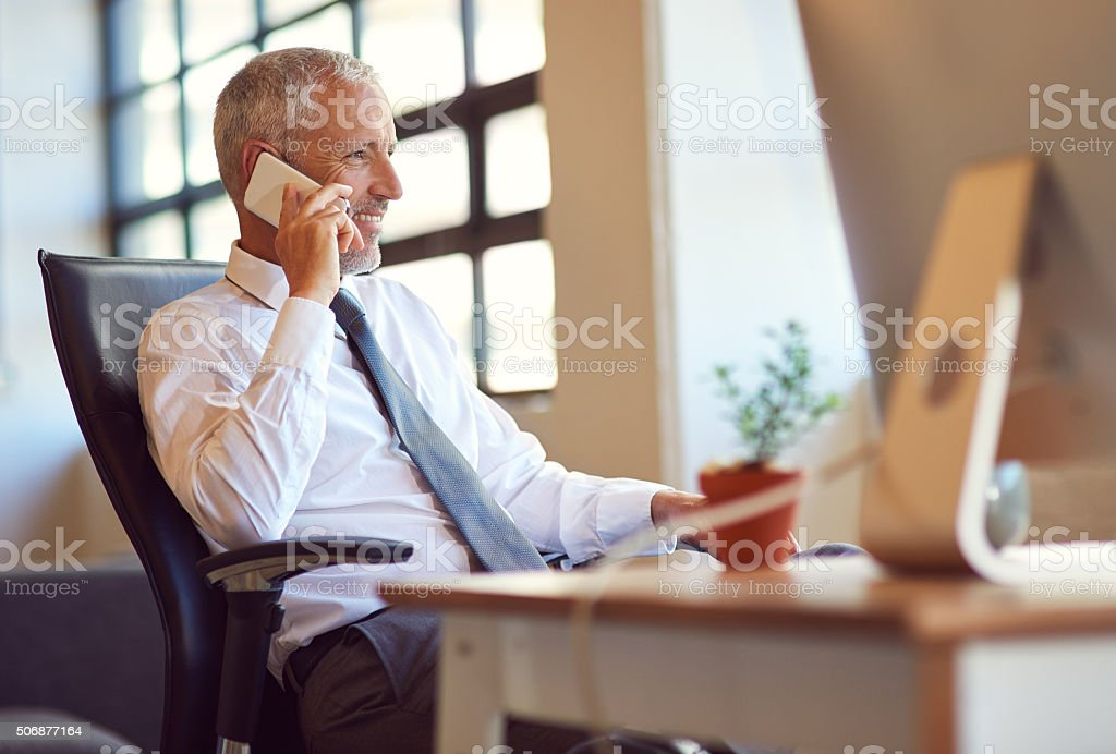 He's the man everybody wants to talk to stock photo