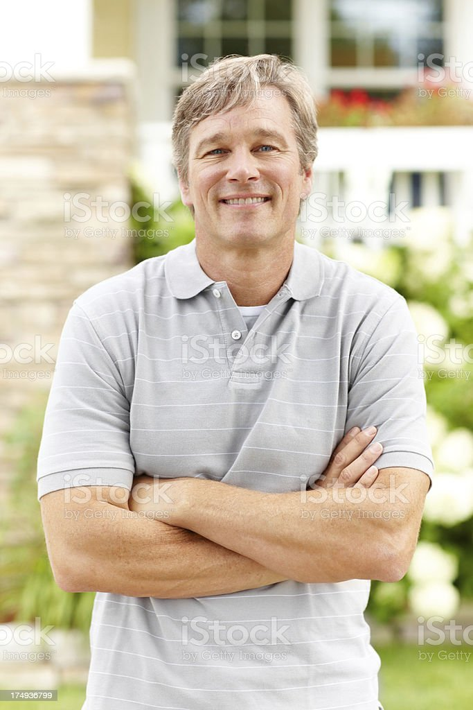 He's totally at ease and perfectly happy royalty-free stock photo