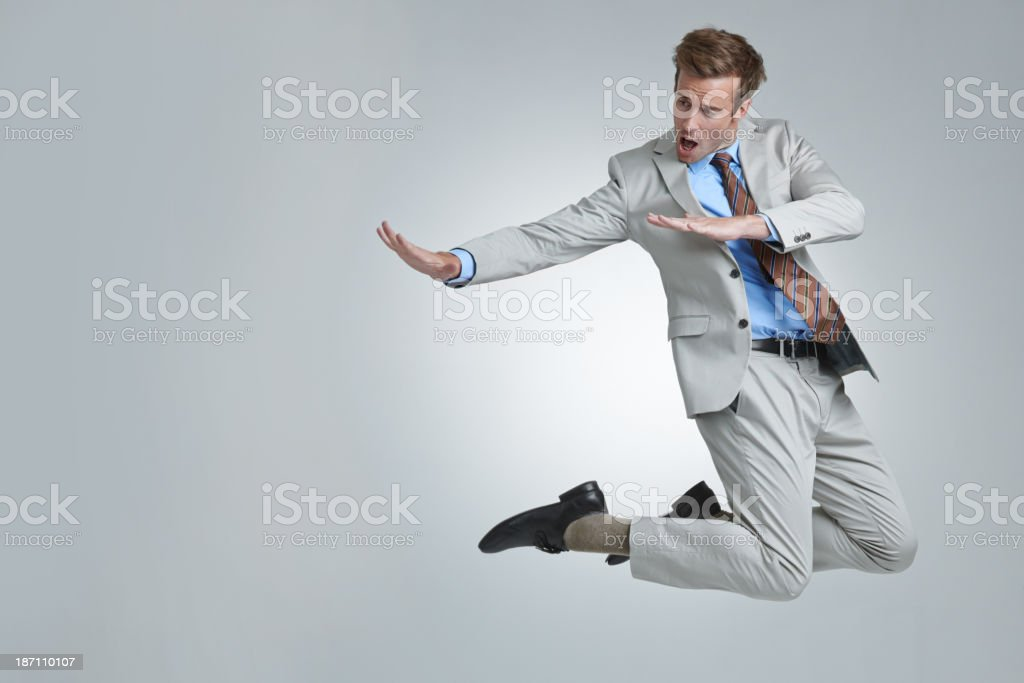 He's unable to contain his celebration stock photo