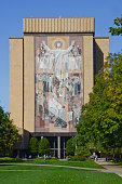 Hesburgh Library and Touchdown Jesus at University of Notr