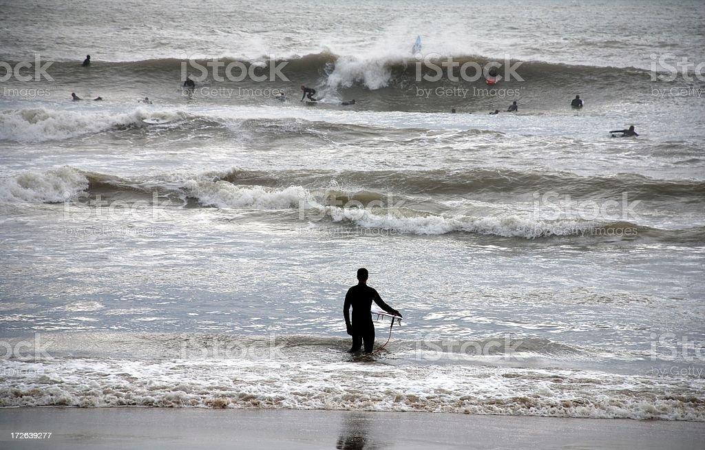Hesitant Surfer royalty-free stock photo