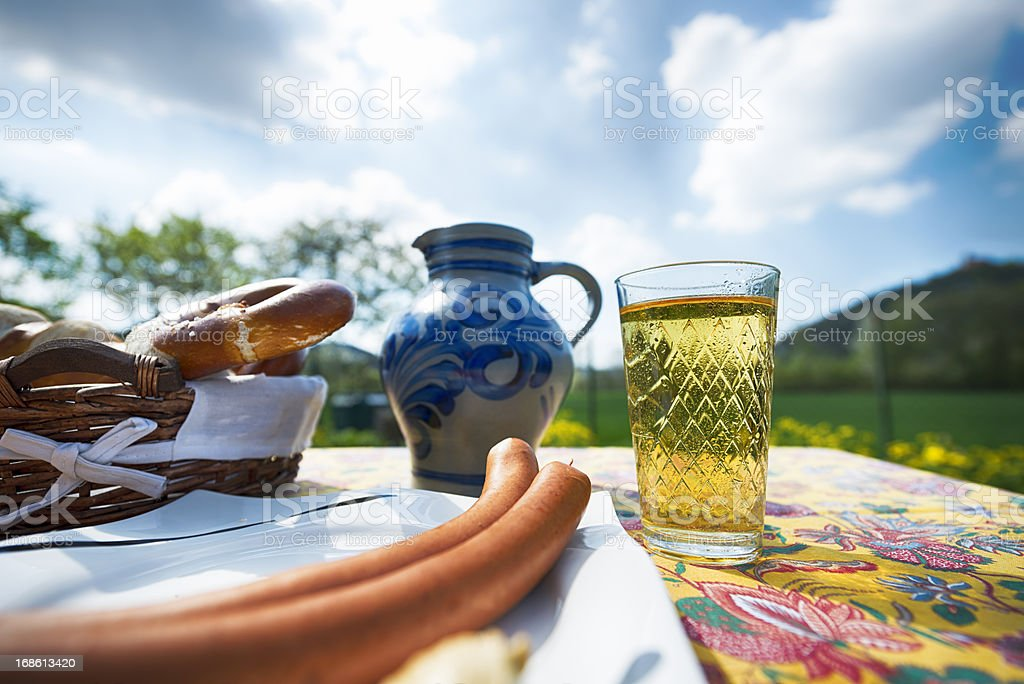 Hessian Cider and Jug, Bembel, Aeppelwoi, Aeppler, Apfelwein royalty-free stock photo