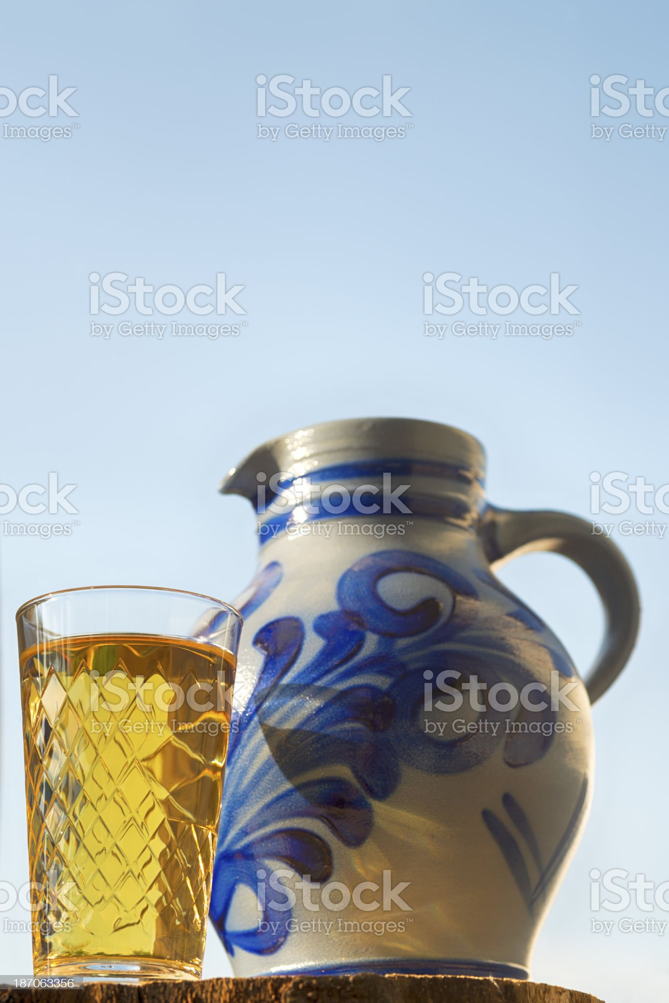 Hessian Cider apple juice and Jug, Bembel  Apfelsaft royalty-free stock photo