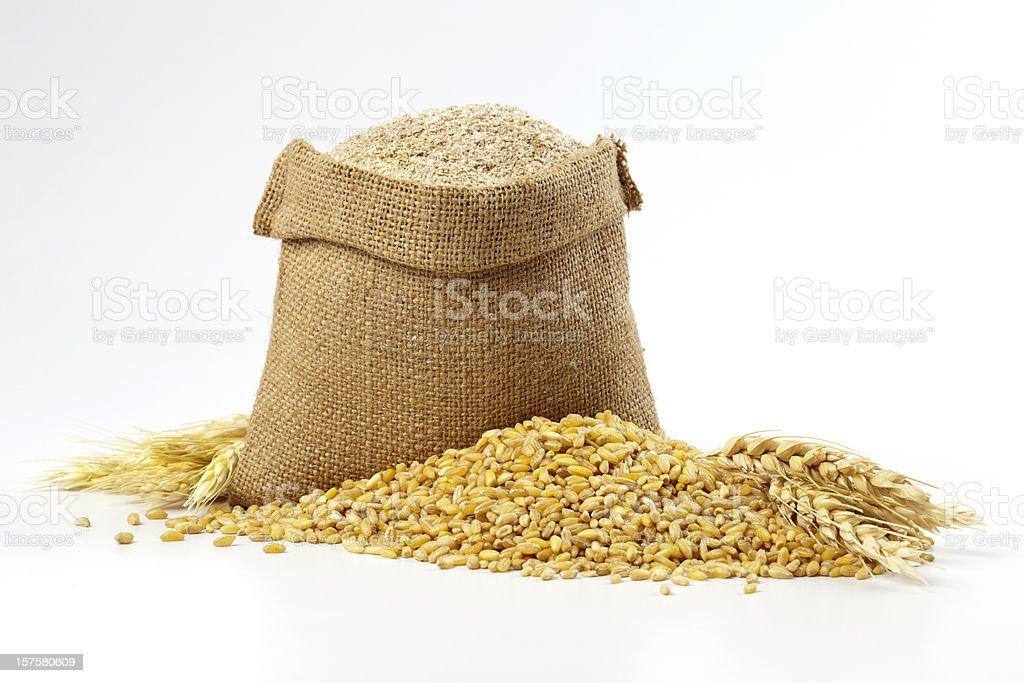 Hessian sack of grain and wheat stock photo