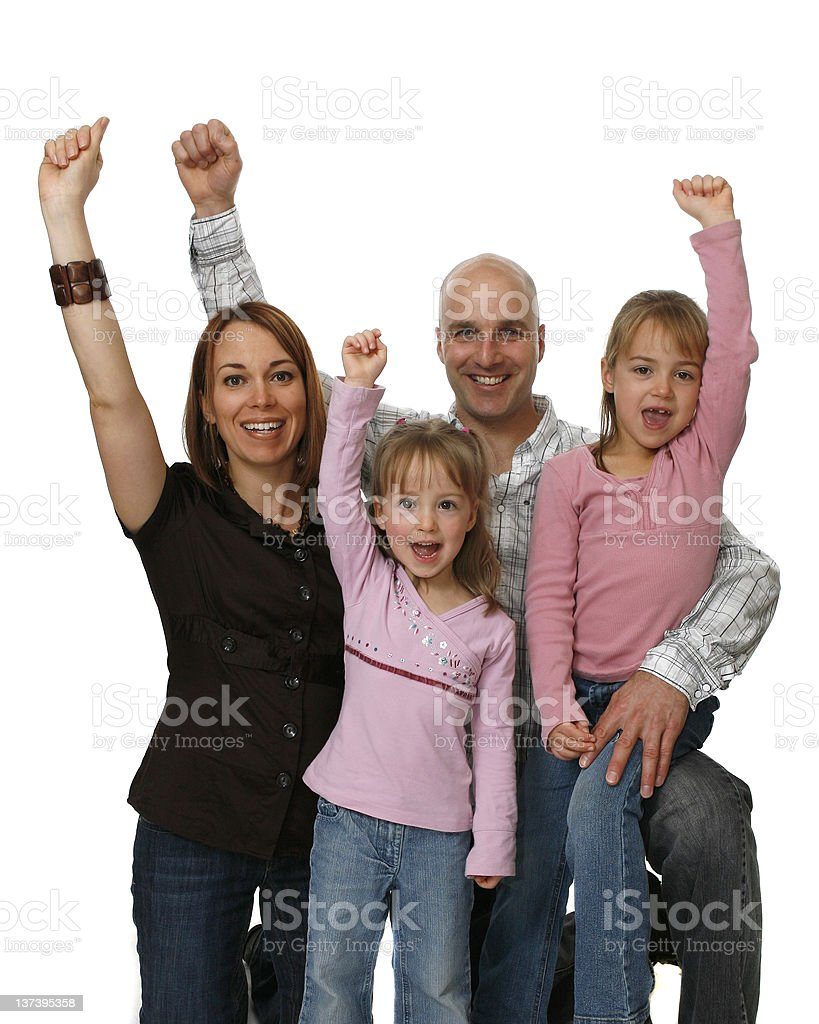 Heterosexual Couple With Two Young Daughters royalty-free stock photo