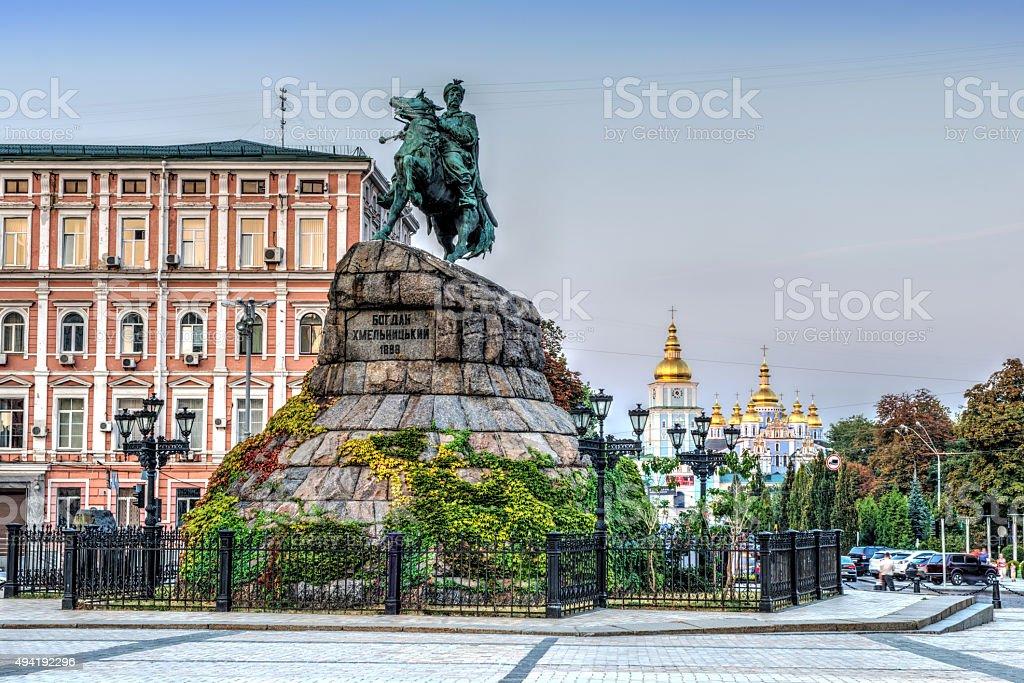 Hetman Bohdan Khmelnytsky statue in Kiev stock photo