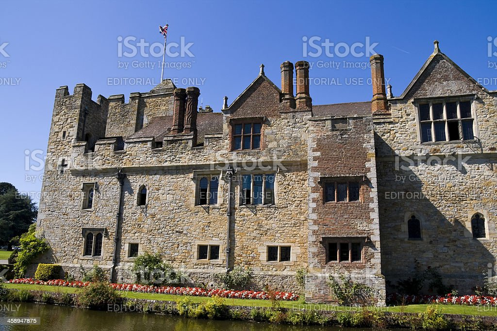 Hever Castle wall and moat stock photo