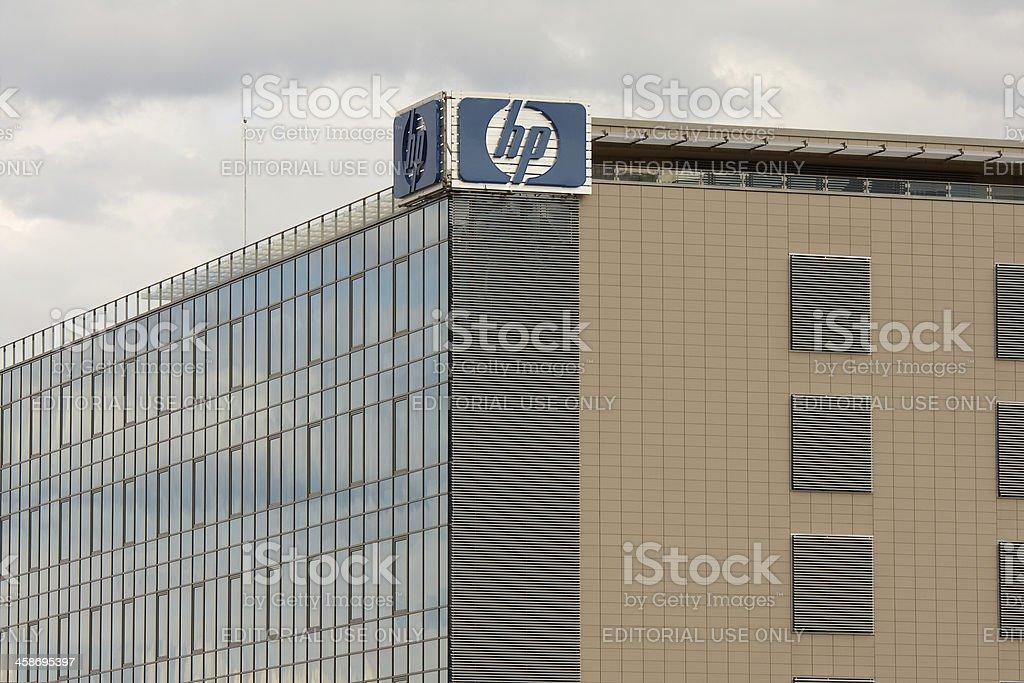 Hewlett-Packard sign on a building stock photo