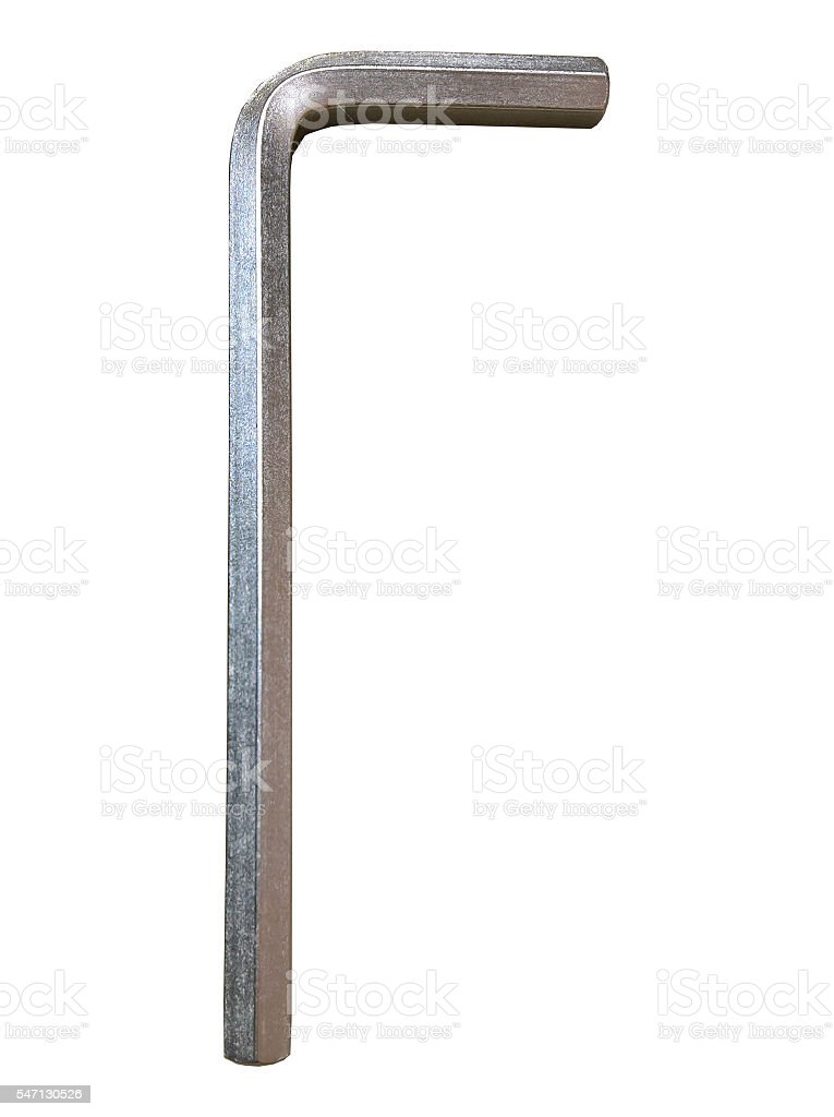 Hex Key Silver Isolated stock photo
