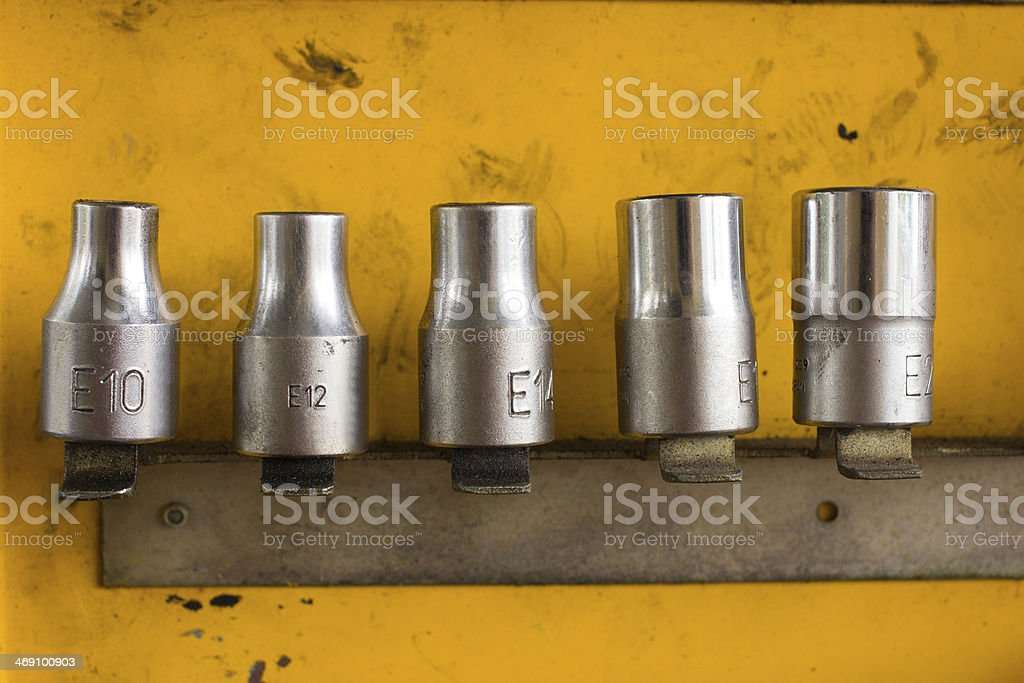 Hex Socket set in the auto toolbox.  workplace of the mechanic stock photo