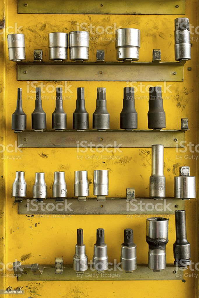 Hex Socket set in the auto tools box. stock photo