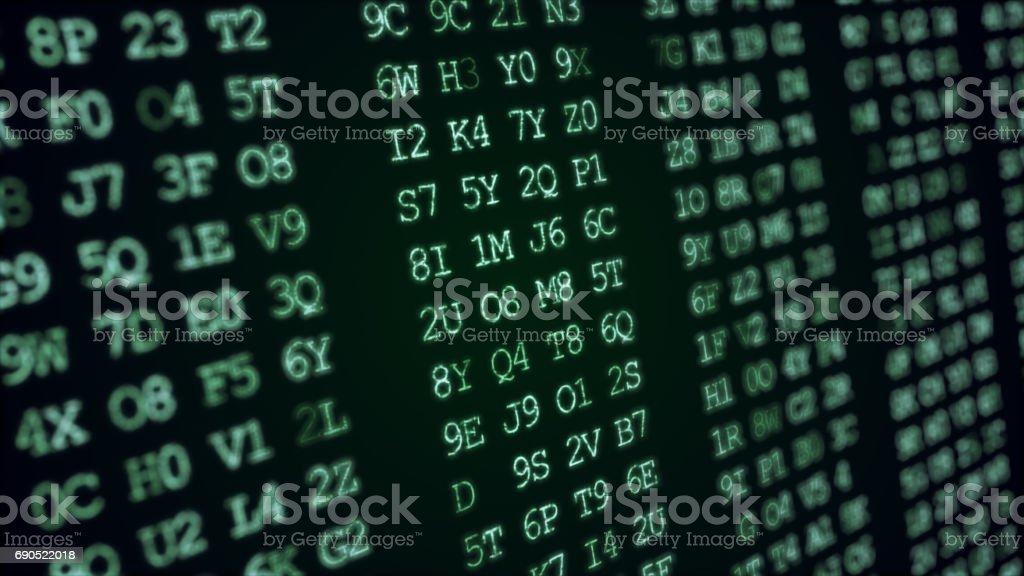 Hexadecimal abstract green code running up a computer screen. stock photo
