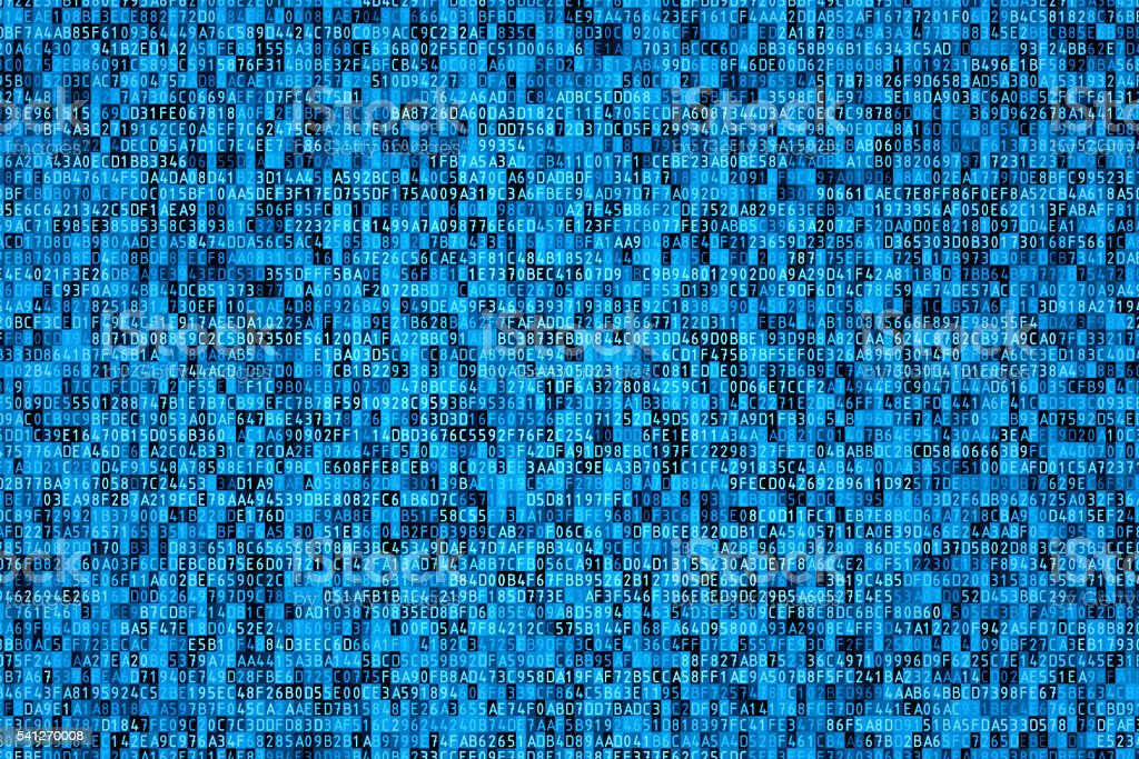 Hexadecimal code blue background with encrypted data stock photo