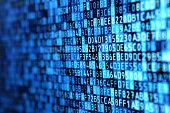 Hexadecimal programming data on computer monitor, blue background