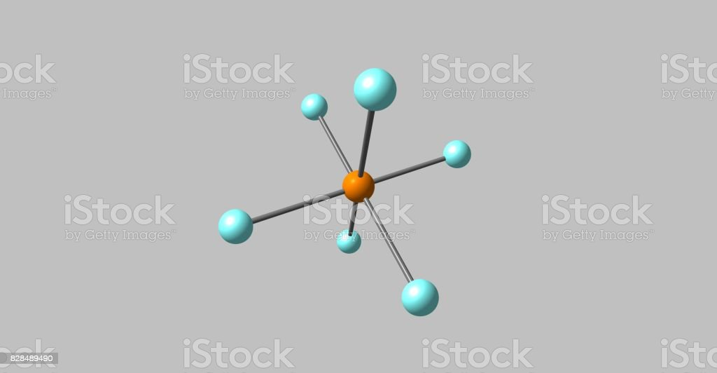 Hexafluorophosphate molecular structure isolated on grey stock photo