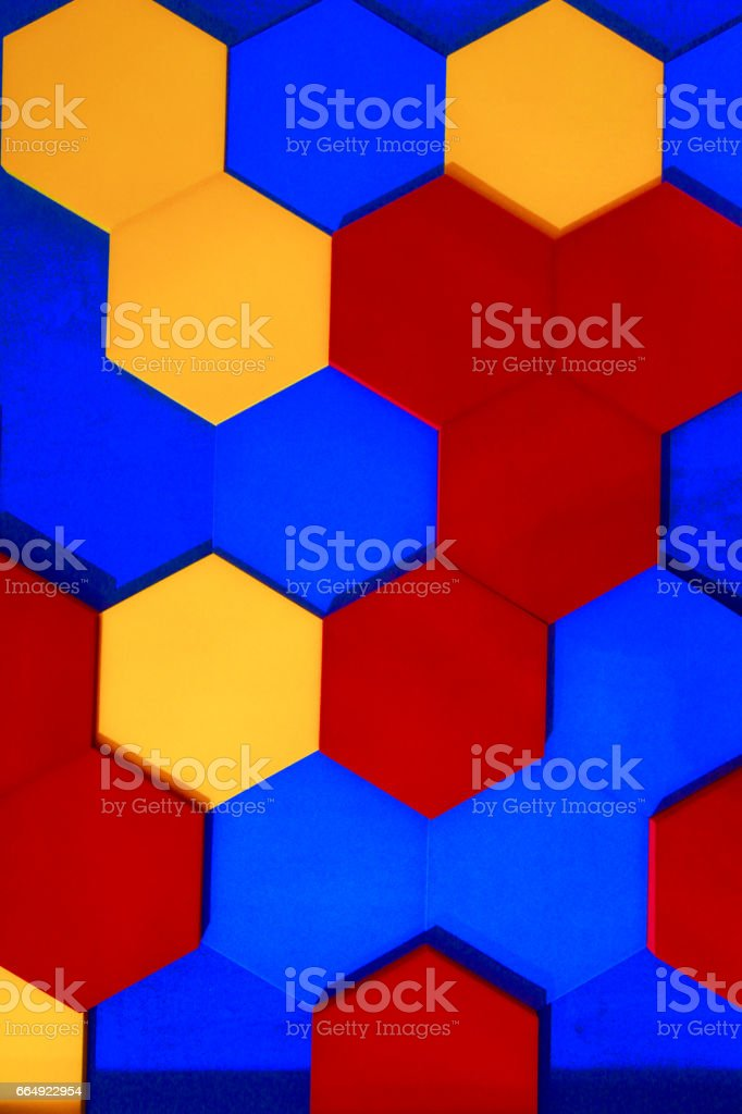 hexagon blue red orange heneycomb cell geometrical shape background texture technology abstract grid pattern futuristic wall creative net network 3d three dimension structure objects group stock photo