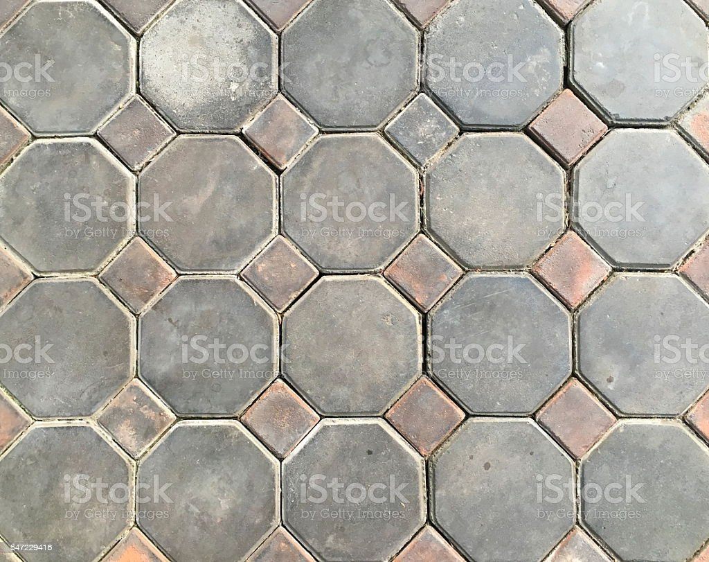 Hexagon brick floor stock photo